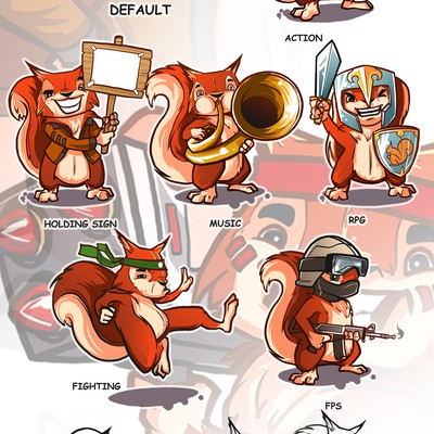 Create a cartoon red squirrel mascot for a PC game retailer