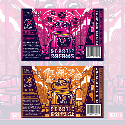Bold / Fun Robotic and Fruity Beer Labels