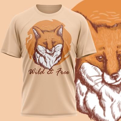 Fox motive T-Shirt Design