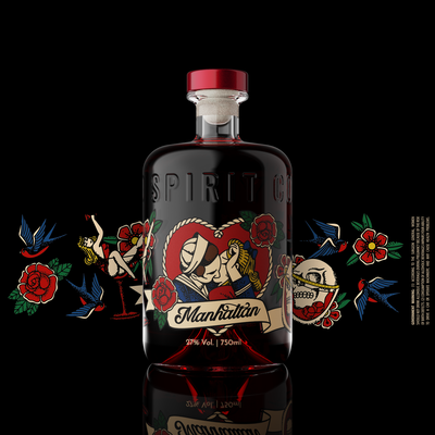 """Hip and Bold label for """"Tattoo"""" line of distilled spirits"""