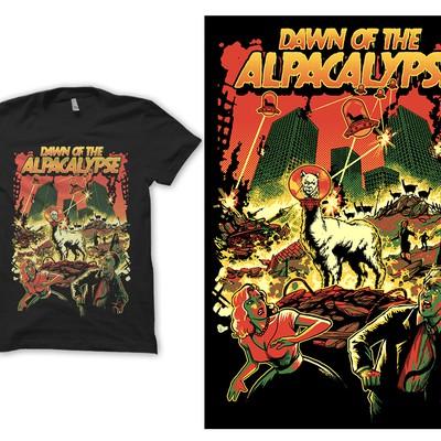 T shirt design Dawn of the Alpacalypse