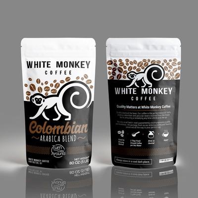 White Monkey coffee packaging