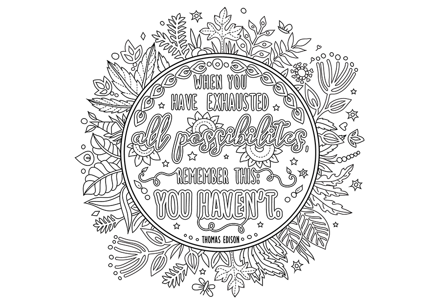 handcrafted coloring book page