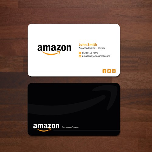 Business card design for amazon business owner business card contest runner up design by gratefulduck reheart Images