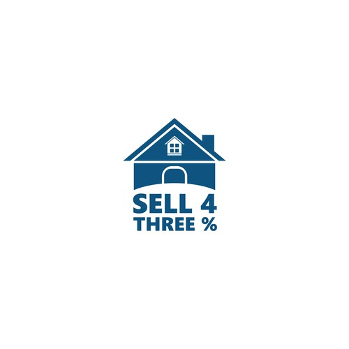 Create a residential real estate logo for sell 4 three 4 selling design