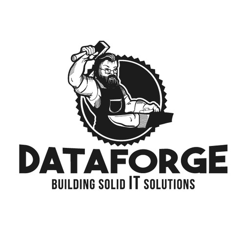 Create a captivating vintage forge logo for an IT company ...