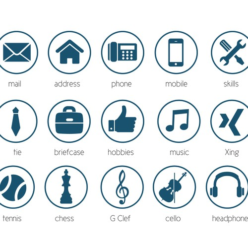 20 modern Icons for personal CV / Resume | Icon or button contest