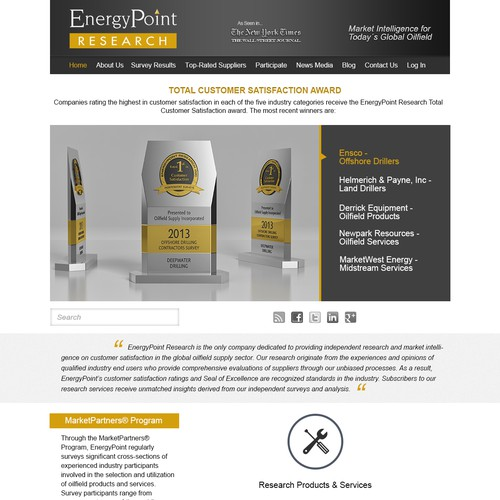 EnergyPoint Research Home Page Redesign | Web page design