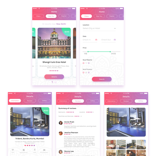 Design kinky app screens for a love hotel booking app for Hotel booking design