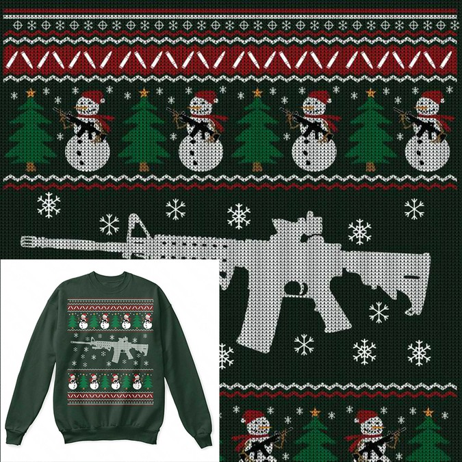Ugly Christmas Sweater Design.Create Ar 15 Ugly Christmas Sweater Design T Shirt Contest