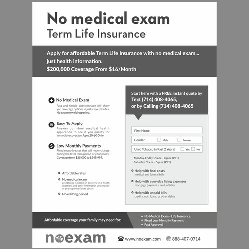 No Physical Life Insurance Quotes: (Black & White) 1-page FAX Sales Sheet For