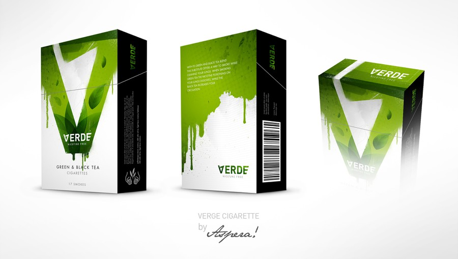 Verde Green Tea Cigarette Box Design : Product packaging contest