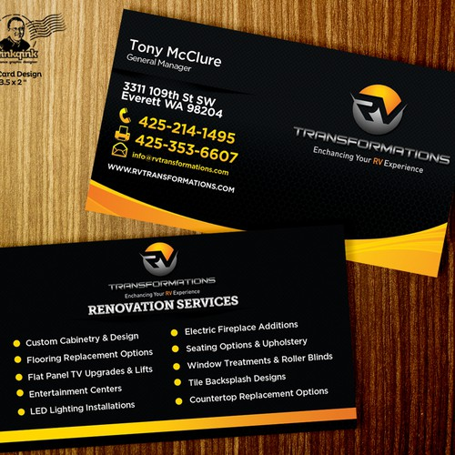 Create An Exciting Business Card Design For A New RV