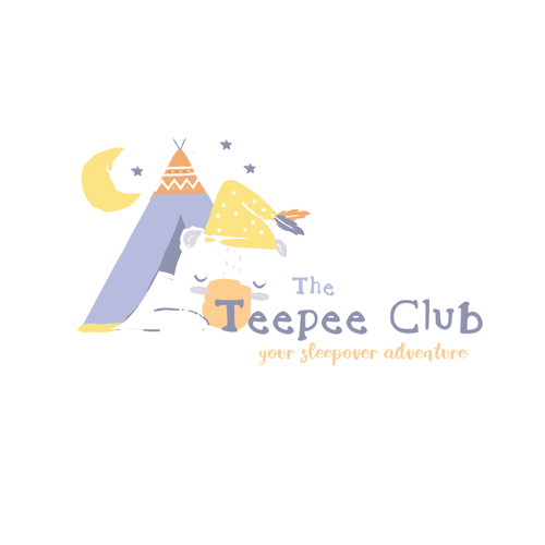 Sleep logo with the title 'The Teepee Club Logo Design'