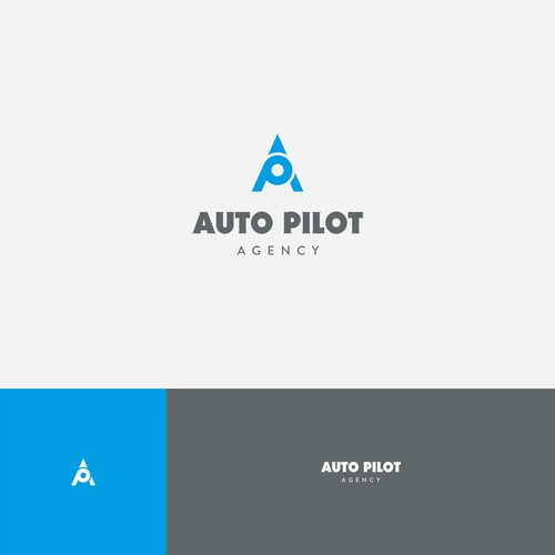 Neutral logo with the title 'Strong initial logo for Auto Pilot Agency'