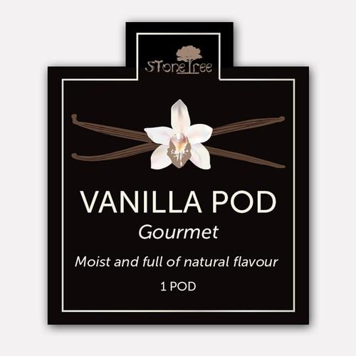 Vanilla design with the title 'Label design concept for Vanilla Pods'