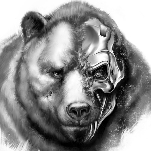 Cyborg design with the title 'Cybernetic bear tattoo design'