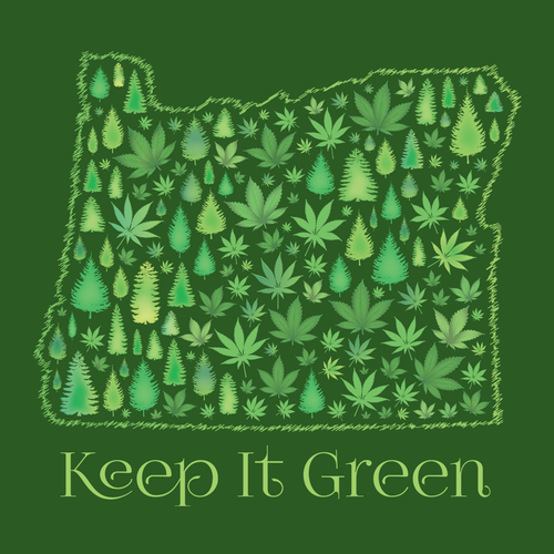 Oregon design with the title 'Creative Cannabis Leaf Design for State of Oregon'