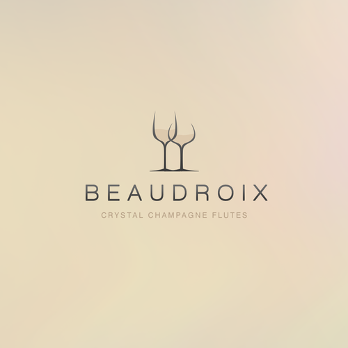 Champagne bottle logo with the title 'Crystal Champagne Flutes Logo'