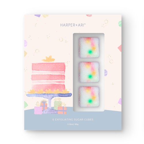 Scrub design with the title 'Bath scrub cube set packaging design'