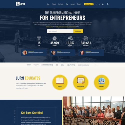 Entrepreneur website with the title 'Concept design for Lurn.com'