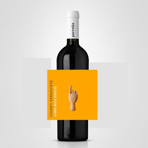 Yellow label with the title 'wine label'