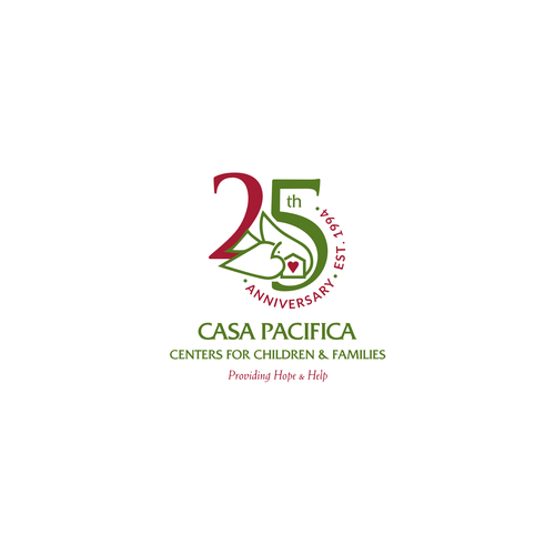 Birthday logo with the title '25th Anniversary Casa Pacifica Centers for Children & Families'