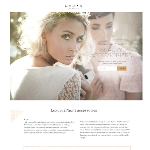 Ecommerce design with the title 'Nomad By Design: A fashion-forward luxury mobile accessories brand'