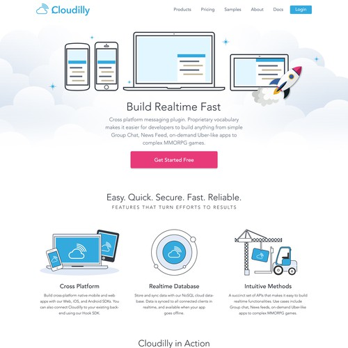 Illustrator website with the title 'Fun and creative website for a cloud chat app'