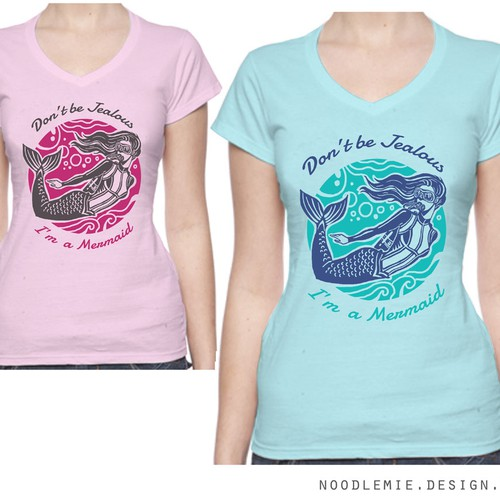 Fashion t-shirt with the title 'Mermaid Scuba Diver'
