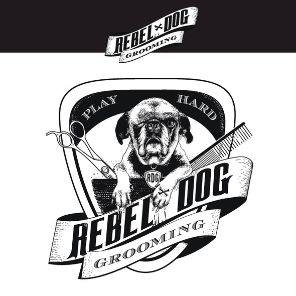 Comb design with the title 'Rebel Dog grooming'
