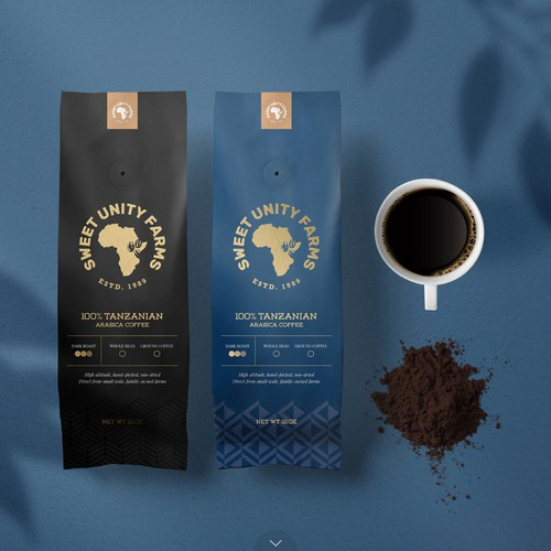 Farm packaging with the title 'Coffee Packaging for Sweet Unity Farms'