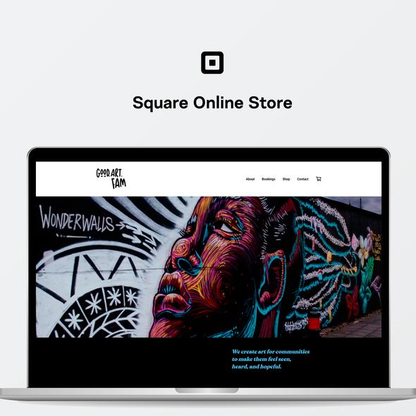 Store design with the title 'GoodArtFam - Square Online Website'