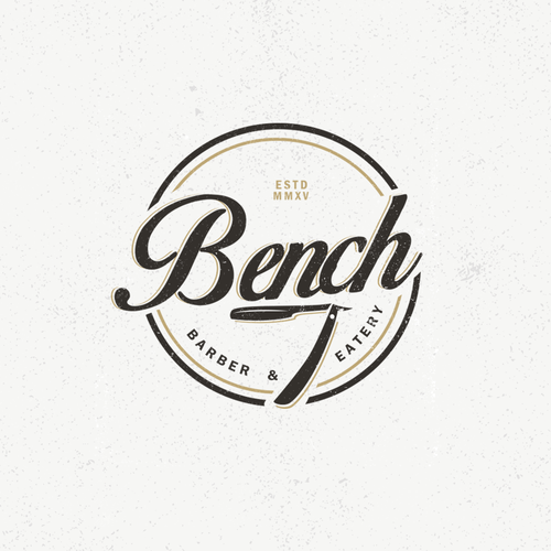 Barbershop logo with the title 'logo design concept for a barber & eatery'