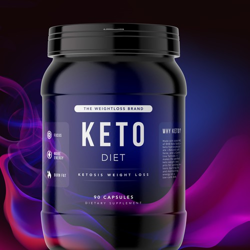 Keto packaging with the title 'Package Design for Dietary Supplement'