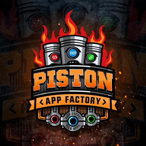 Piston design with the title 'Logo Piston App Factory'
