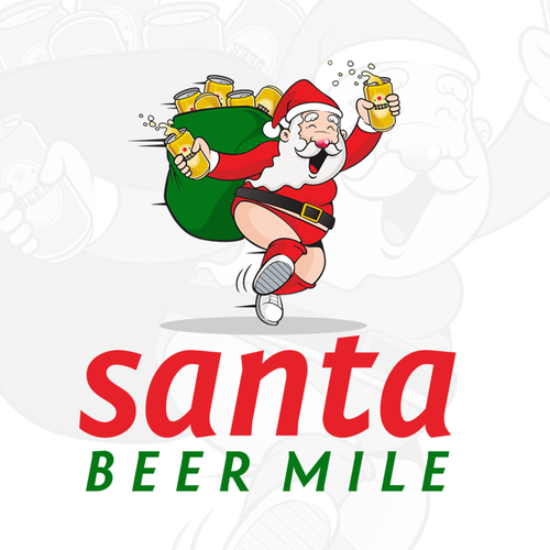 Santa Claus logo with the title 'Santa Beer Mile Logo'