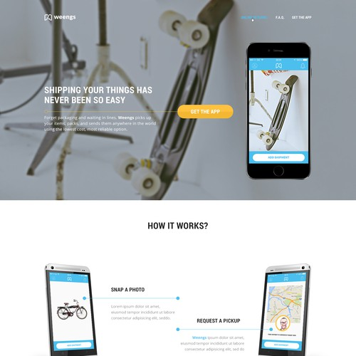 Home website with the title 'Homepage for shipping website'