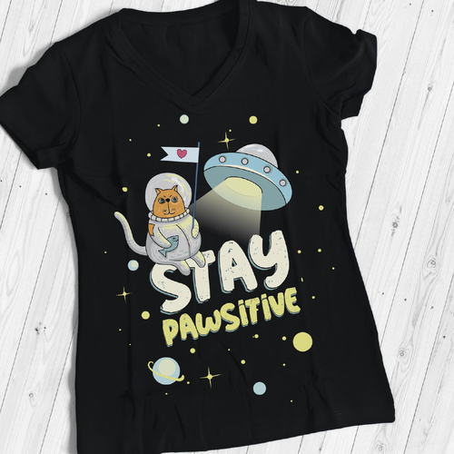 Internet t-shirt with the title 'cute cat in space in a spacesuit'