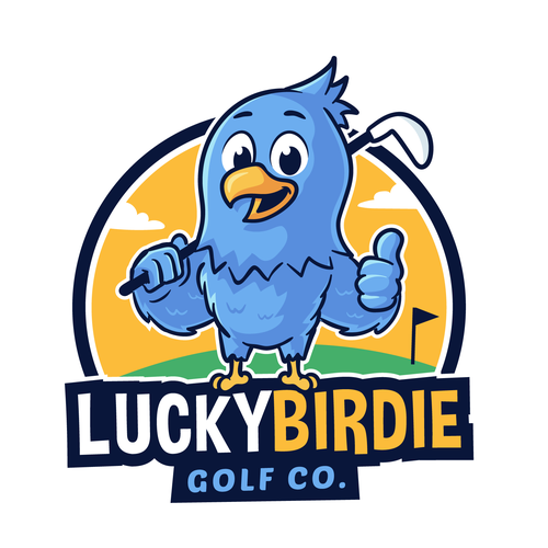 Mascot logo with the title 'Lucky Birdie logo'
