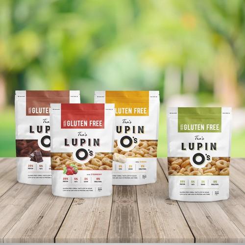 Cereal design with the title 'Modern elegant package design for top shelf adult cereal'