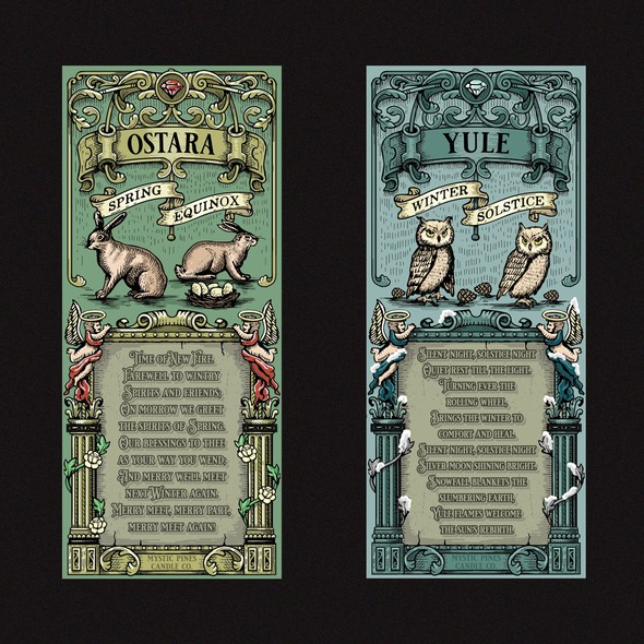 Family design with the title 'Ostara and Yule Candle label'