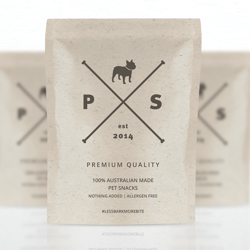 Animal label with the title 'Pet Snack design'