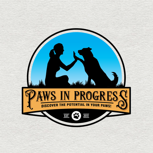 Pet logo with the title 'Paws In Progress'