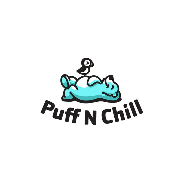 Puffin logo with the title 'Puff N Chill'