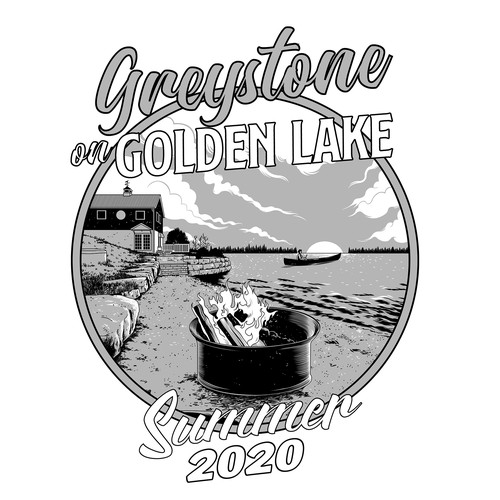 Sketch t-shirt with the title 'Greystone on Golden Lake'