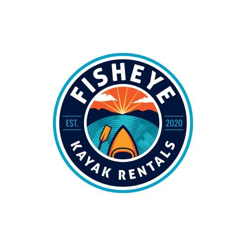 Kayak design with the title 'Emblem style logo for kayak rentals business'