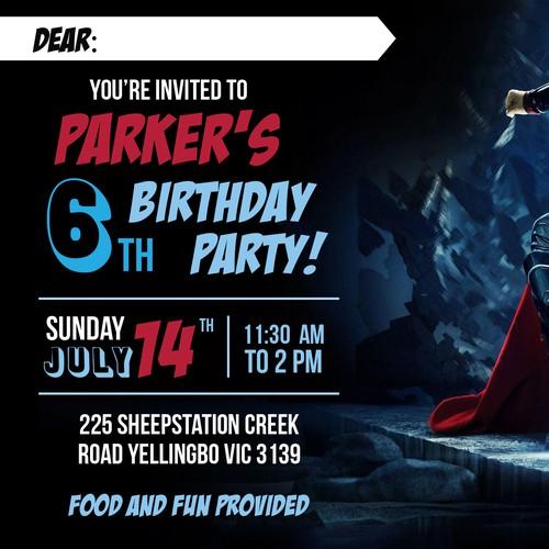 Invite design with the title 'Avenger Party Invitation'