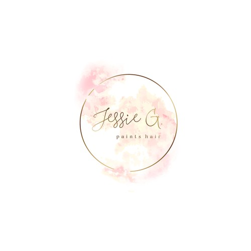 Hair salon design with the title 'Jessie G. paints hair - delicate & stylish logo with inks'