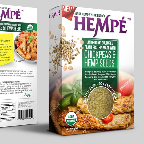 Healthy food design with the title 'Organic Hemp Food Packaging Design'